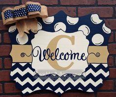 Chevron & Polkadot Monogram Welcome Door Hanger Sign by SparkledWhimsy on Etsy https://www.etsy.com/listing/218857647/chevron-polkadot-monogram-welcome-door
