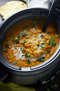 Cooker Indian-Spiced Lentils - Host The Toast Slow Cooker Indian-Spiced Lentils. This crock pot dahl recipe is hearty, heavily spiced, and ultra-comforting. It doesn't require any crazy techniques, but winds up so flavorful! Indian Food Recipes, Vegetarian Recipes, Healthy Recipes, Vegetarian Slow Cooker, Indian Slow Cooker Recipes, Lentil Recipes Indian, Indian Foods, Easy Recipes, Authentic Indian Recipes
