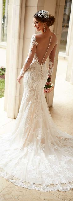 Gorgeous Illusion Jewel Neck #Lace Patterns All over Mermaid #WeddingDress with Long Sleeves
