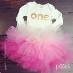 Baby Girl First Birthday Outfit, Metallic Number One and Pink Ombre Tutu