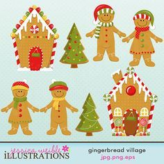 Gingerbread Village Cute Digital Clipart for Card Design, Scrapbooking, and Web Design