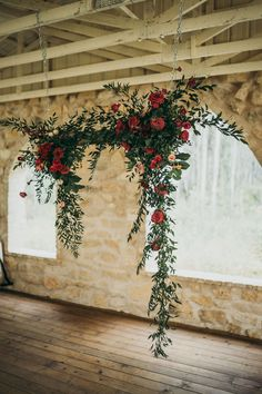 hanging garden inspired floral wedding ceremony backdrop ideas