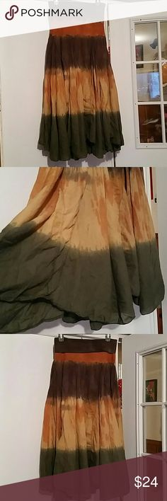 🕉🌻Boho ombre hippie skirt 🕉🌻 Awesome semi asymmetrical and flowy skirt/ dress. This beautiful skirt is perfect for summer festivals or the beach! Different lengths make it super flowy. It's also partially lined see pic 5. Lightweight and fun! Size is medium but will fit a wide range of sizes. Measurements upon request. 🚫From a non smoking and pet free home Baba Los Angeles Skirts