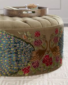Shop Round Peacock Ottoman from Haute House at Horchow, where you'll find new lower shipping on hundreds of home furnishings and gifts. New Furniture, Painted Furniture, Furniture Design, Homemade Furniture, Eclectic Furniture, Upholstered Furniture, Sofa Design, Home Decor Bedroom, Closet Bedroom