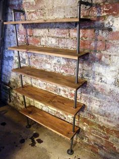 Loft Style Pipe Shelving Bookcase custom by StandingWaveWoodwork