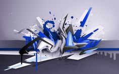 3D graffiti with blue, white and black