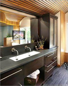 "60"" king - modern double trough sink bathroom vanity cabinet bath"