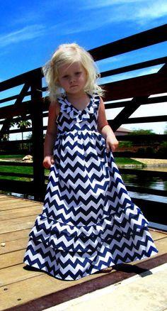 Toddler or girl chevron maxi halter ruffle dress - Emmaline dress, Navy chevron