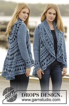"""Sea Glass - Crochet DROPS jacket worked in a circle with lace pattern in """"Merino Extra Fine"""". - Free pattern by DROPS Design Gilet Crochet, Crochet Coat, Crochet Jacket, Lace Jacket, Crochet Cardigan, Crochet Shawl, Diy Crochet, Crochet Clothes, Sweater Jacket"""