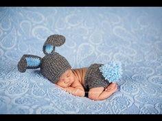 """Шапка """"ЗАЙКА"""".Шапка крючком для новорожденных.Вязание крючком шапки.Детс..."""