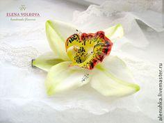 """Заколка с орхидеей """"Экстаз"""" . - орхидея,цветы из полимерной глины,цветы ручной работы"""
