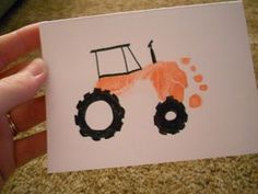 DIY: Father's Day Card craft making a tractor for Dad from young kid's footprint. Great for new Father. I'd probably use green ink for the John Deere Green Tractor influence. Or the song I want a ride on your green tractor!: