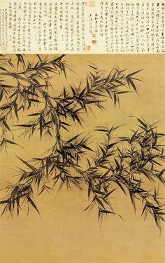 """《墨竹图》 宋 文同 台北故宫博物院藏      文同(1018—1079),字与可,号笑笑居士,石室先生,锦江道人。梓州永泰(今属四川)人。后中进士,仕为太常博士司封员外郎。他的画风潇洒姿致,如迎风而动。《墨竹图》笔法谨严中又潇洒之致,所谓""""浓墨为面,淡墨为背"""",由此可见。其墨竹选取其清洒生动姿态,运用了书法行书的用笔,因他的竹木怪石独具一种风味,后人号之为""""文湖州竹""""。此图写倒垂竹一梢,出枝微曲取横空之势。着叶不多,疏密有致,其茎多新枝,以淡墨渲写,生趣蓬勃。"""