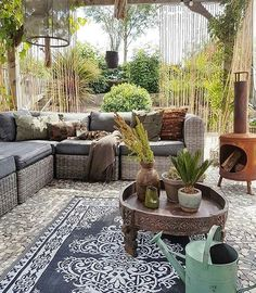 "I love the exotic pieces in these muted hues ~ Lovely Interiors (@ourlovelyinteriors) on Instagram: ""Relax in this secluded, bohemian inspired patio!  @yvonne_kwakkel #ourlovelyinteriors"""