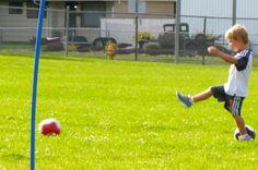 Having fun playing soccer at the park.  #kids