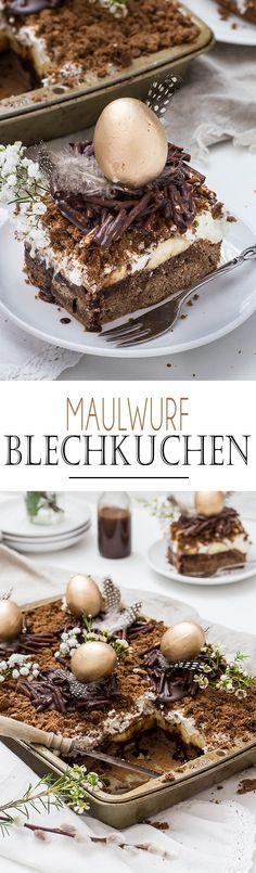 German Mole Cake // Maulwurf Blechkuchen mit Schokonestern und Bananen