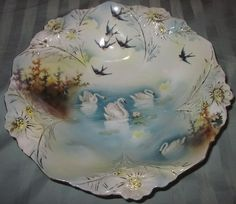 Porcelain Hand Painted Swan Bowls ~  Prussia | eBay