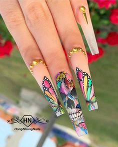 [New] The 10 Best Nail Ideas Today (with Pictures) - Rainbow skull by . Super Cute Nails, Pretty Nails, Long Nail Designs, Nail Art Designs, Bling Nails, Swag Nails, Skull Nails, Exotic Nails, Fire Nails