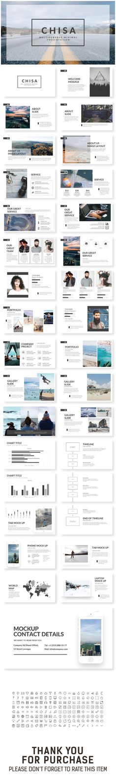 Keynote Template - Note : All Image Is Not Include Drag & Drop Image Image Placeholder Easy to change colors, F. Cool Powerpoint, Powerpoint Design Templates, Keynote Template, Slide Presentation, Presentation Design, Presentation Templates, Graphisches Design, Layout Design, Clean Design