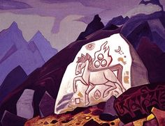 White Stone (Sign of Cintamani or Horse of happiness), Nicholas Roerich Medium: canvas,tempera Tarot, Nicholas Roerich, Art Database, Buddhist Art, White Stone, Large Prints, Buddhism, Les Oeuvres, Mythology