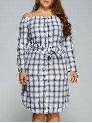 Plus Size Off The Shoulder Plaid Belted Dress