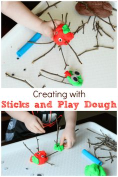 Creating with Sticks and Play Dough