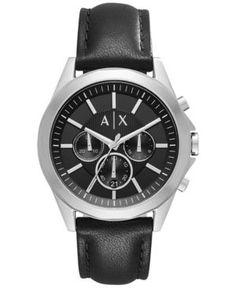 A|X Armani Exchange Men's Chronograph Black Leather Strap Watch 44mm AX2604 - Black