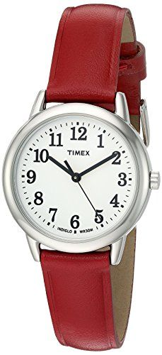 Timex Womens T2N952 Elevated Classics Dress Watch With Red Leather Band -- Click image for more details.