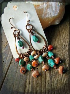 Chandelier earrings, Fire opal Turquoise Raw copper Artisan metalwork Southwestern - Coral Reef