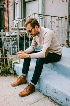 Sweater: J. Crew Factory - $41 Shirt: Hawkings McGill - Urban Outfitters - $20 (similar) Jeans: American Eagle - $39 Boots: Dune - Topman - ...