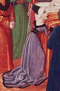 "Froissart's Chronicles ""The death of anne of bohemia"" 1470 - showing the v-neck back the typical Burgundian style gown-picture only 15th Century Dress, 15th Century Clothing, 17th Century Fashion, 14th Century, Medieval World, Medieval Art, Renaissance Art, Medieval Costume, Medieval Dress"
