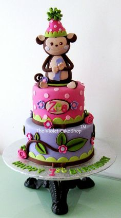Cute Monkey Girl Wearing Party Hat! - by thevioletcakeshop @ CakesDecor.com - cake decorating website