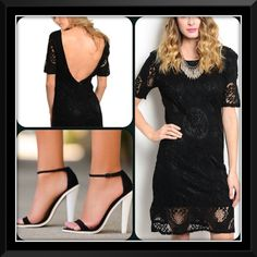 Black Lace Dress/Clearance This lovely dress features an open back. Fully lined. Lace overlay. Elegant and beautiful. Affordable and perfect for a special occasion. Shoes not listed. (This closet does or trade or use PayPal) Dresses Mini