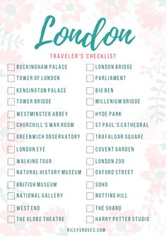 London Travelers Checklist London Checklist Things to Do in London London Attractions Visit London Rileys Roves Travel Checklist, Travel List, Travel Europe, Traveling Abroad Checklist, Holiday Checklist, To Do Checklist, London Attractions, London Landmarks, Voyage Europe