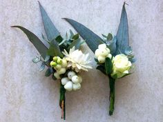Australian native flower buttonholes for a backyard wedding.