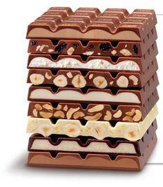 Layers of Ritter Sport chocolates. Chocolate World, I Love Chocolate, Chocolate Bark, Chocolate Shop, Homemade Chocolate, Chocolate Lovers, Chocolate Recipes, Dessert Chocolate, German Chocolate