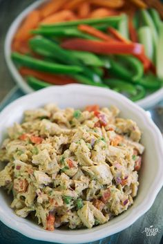 Spicy Mexican-Style Chicken Salad - A slightly spicy, yet creamy chicken salad made with homemade mayonnaise, bell pepper, jalapeno and flavorful spices.