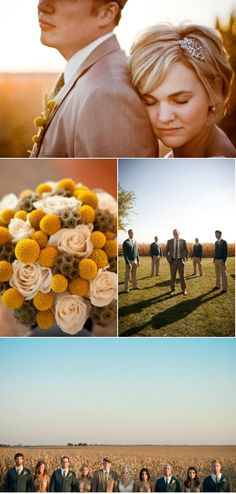 Billy buttons, roses, and scabiosa pods - adorable
