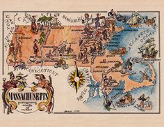 old map of Massachusetts, a pictorial map by Jacques Liozu, 1946, this is a good source for high quality printable vintage maps and illustrations