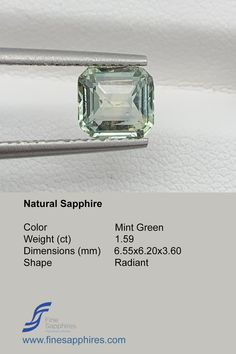 Green sapphire has gain lot of popularity during recent times and it is amongst one of the most requested stones. Color Mint Green Origin Madagascar Weight 1.59Ct Dimensions 6.55x6.20x3.60mm Shape Octagon Enhancement None FS034 Sapphire Color, Green Sapphire, Natural Sapphire, Madagascar, Mint Green, Gain, Shape, Gemstones, Unique Jewelry