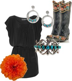 """""""Western Colors"""" by rinergirl on Polyvore Not sure about that orange pom pom though!"""
