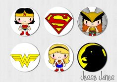 JUSTICE LEAGUE Inspired Female Heroes  Pinback by jessejanes