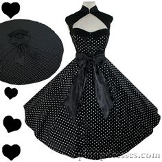 New Black with White Polka Dots Retro Full Circle Skirt Dress