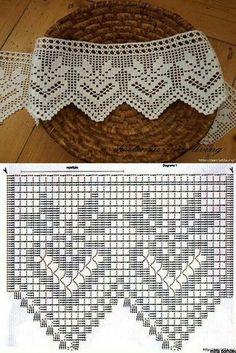 lo spazio di lilla: A gentile richiesta. schemi di sproni crochet per Celia \/ Crochet yokes diagrams for Celia \/ Patrones de Crochet Edging Patterns, Filet Crochet Charts, Crochet Lace Edging, Crochet Borders, Crochet Diagram, Thread Crochet, Crochet Designs, Crochet Stitches, Lace Patterns