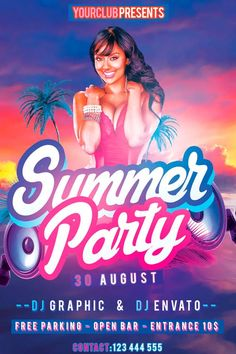 Summer Party Free Flyer PSD Template - http://freepsdflyer.com/summer-party-free-flyer-psd-template/ Enjoy downloading the Summer Party Free Flyer PSD Template crated by KlarensM!    #Club, #Dance, #Dj, #Event, #House, #Music, #Night, #Nightclub, #Nights, #Party