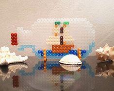 HAMA beads-Sailboat in bottle-pixel art-perler beads-stand Figure