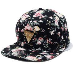 Bluetime Floral Flower Snapback Hip-Hop Hat Flat Peaked Adjustable... ($6.99) ❤ liked on Polyvore featuring accessories, hats, floral baseball cap, snapback hats, baseball cap, baseball hats and adjustable baseball cap