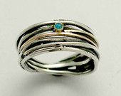 Sterling silver band, stone ring, wrap silver ring, wire silver ring, blue opal band, gemstone ring, two tones ring, oxidized  - Good times.