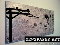 Newspaper Art of birds sitting on the wire. Newspaper or book pages are decoupaged as the canvas background for the silhouette painted on in black.
