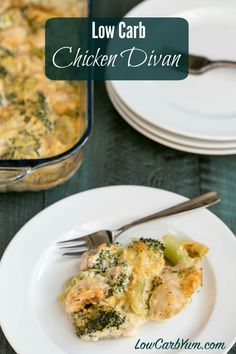 Get the taste of chicken divan without the extra carbs. This low carb chicken divan recipe is simply chicken and broccoli in a Parmesan cheese sauce.